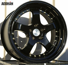 18X9.5 18X10.5 +25 Miester Style 5X114.3 Black Rim Fit G35 350Z TL RX7 STAGGERED