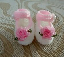 Hand knitted baby booties brand new white and pink 0 - 3 months