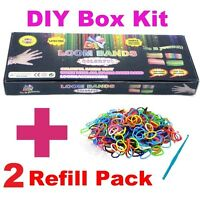 DIY BOX SET + 2 REFILLS 1800 pcs Loom Bands Rainbow Colour Rubber Make Bracelet