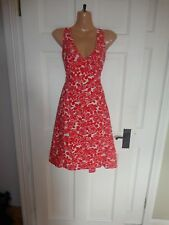 Boden Red Patterned Cotton Lined Summer Dress, UK 12 R, Great Condition