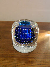 Mid century Nuutajarvi Notsjo glass blue candle holder retro
