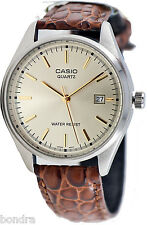 Casio MTP1175E-9A Mens Analog Leather Band Watch Gold Casual New with Date