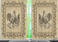 Rooster Kitchen CURTAIN PANEL Set Hen Country Vintage Look Floral Window Decor