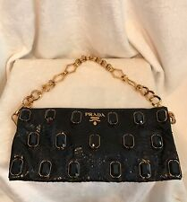 PRADA Black Python Snakeskin JEWELS Handbag Clutch, Gold Chain