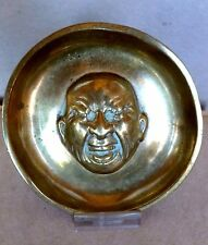 Comical Heavy Brass Dish with Registry Marks Crying Man Baby England C.1850's