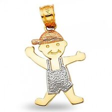 Kid Boy Pendant Solid 14k Yellow White Rose Gold Childrens Charm Tri Color
