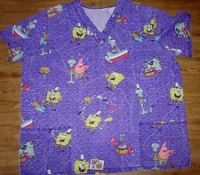 Women's Plus Scrub Top Nurses Uniform Lab Shirt Sponge Bob Square Pants 2X ?