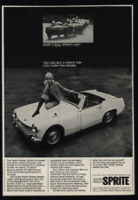 1966 AUSTIN-HEALEY SPRITE Convertible Car - Pretty Woman On Hood - VINTAGE AD