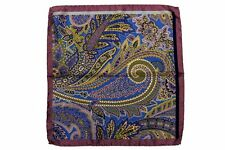 Battisti Pocket Square Lavender with blue,gold,moss paisley, navy, duck egg blue
