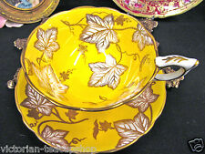 ROYAL STAFFORD TEA CUP AND SAUCER GOLD GILT YELLOW TEACUP & IVY GOLD GILT