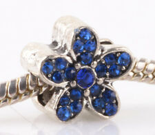 1PCS silver blue flowers sided CZ spacer beads fit Charm European Bracelet AB984