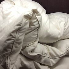 """Queen WHITE GOOSE DOWN COMFORTER 86"""" X 86"""" Baffle Box Channeled Damask Stripe"""