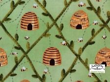 RPA822X Honeybee Bee Skep Honey Insect Country Farm Pollen Cotton Quilt  Fabric
