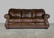 Brown Leather Sofa 100% Top Grain Chesterfield Nailhead Trim Down Blend New