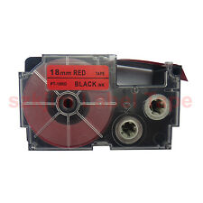 "Casio Compatible XR-18RD Black on Red 18mm 8m Label Tape 3/4 x 26""  XR-18RD1"