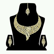 Designer Antique Gold Plated Ethnic Diamond Necklace Earring Tika Jewellery Set