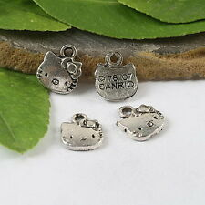 30pcs Tibetan silver cat charm findings h0685