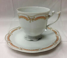"""HUTSCHENREUTHER VIKTORIA """"CORALLE"""" FOOTED TEACUP & SAUCER PORCELAIN NEW  GERMANY"""