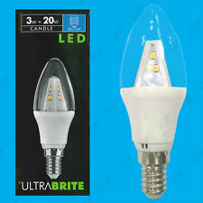 2x 3W LED Clear Candle SES E14 Ultra Low Energy Instant On Spot Light Bulb Lamp