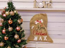 Dog Stocking Christmas Bag Burlap Pouch Personalized Hessian Pet Lover Bone