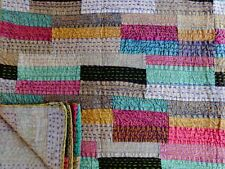 Kantha Quilt Queen Indian Patchwork Bedspread Ethnic Cotton Boho Throw Blanket