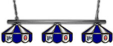 Miller Lite Beer Billiards Stained Glass Mirror Pool Table Light Lamp 3 Lights
