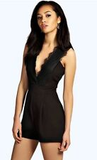 NEW Boohoo Lauren Black Lace Deep V Plunge Neck Slip Play Suit Romper US SIZE 10