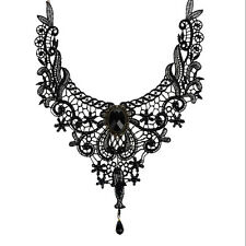 Black Lace&Bead Choker Victorian Steampunk Style Gothic Collar Necklace PB