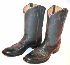 ANDERSON BEAN BOOT CO gray/black w/red LEATHER WESTERN BOOTS Sz 10A Xtra Narrow