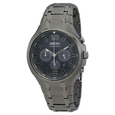 Seiko Men's SSC453 Recraft Solar Chronograph Gray Stainless Steel Watch