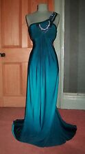 GORGEOUS JS BOUTIQUE LONG PEACOCK BLUE GRECIAN EVENING DRESS, SIZE 14
