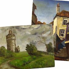 Sixties Retro West Country Cottage Townscape Impasto Oil Painting H.J. Fare 1967