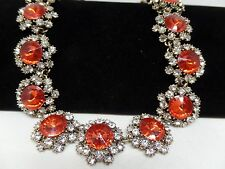 GORGEOUS VINTAGE INSPIRED RED RIVOLI CRYSTAL STATEMENT NECKLACE! BRAND NEW!