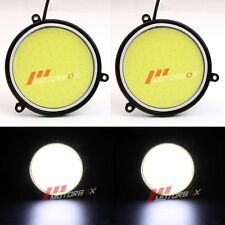 Pair of COB 30W 12V 9CM Round White LED DRL White Car DRL Daytime Running Light