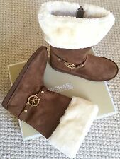 MICHAEL KORS Maskara Faux Suede Sherpa Boots Camel Tan Brown MK Womens 6 Youth 4