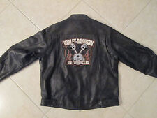 Harley Davidson Mens XL Black Motorcycle Biker Leather Jacket Piston Patch