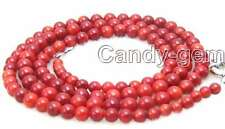 "SALE Super Long 33"" Red 4-7mm High quality Round nature Coral Necklace -nec5366"