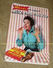 new NESTLE'S MILK CHOCOLATE TIN SIGN 50s 60s ADVERT vintage candy shop RETRO