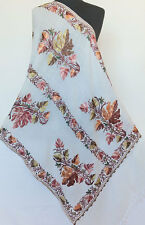 Colorful Crewel Embroidered Leaves on Ivory Wool Shawl Kashmir Embroidery
