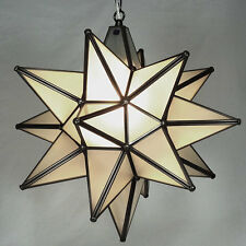 Moravian Star Pendant Light, Frosted Glass Bronze Frame, 18""