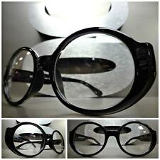 Mens Women CLASSIC VINTAGE Style Clear Lens EYE GLASSES Oval Black Fashion Frame