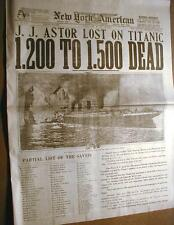 1912 newspaper TITANIC SINKS -w/ BIG Headline & photo