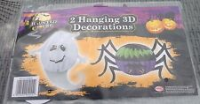 Reduced!! 3D 2 Hanging Halloween Decorations - Spooky Spider & Ghost Duo
