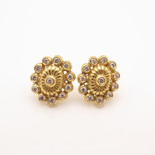 1CT VVS Real  Diamond 18K Yellow Gold Flower Stud Pushback Earrings