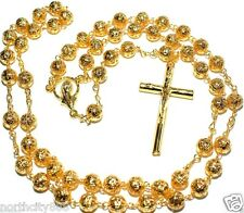 "Rosary Necklace Gold Plated Filigree Beads Rosary 22"" Religious Catholic Rosary"