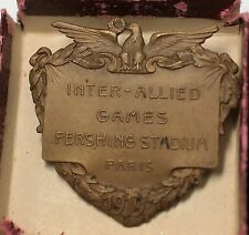 1919 Inter Allied Games Pershing Stadium Paris France Large Medal Pin with Box