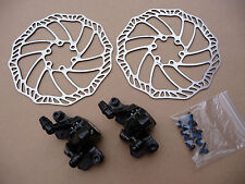 Promax Mechanical Disc Brake Set Front Rear Post Mount Calipers Rotors MTB Bike
