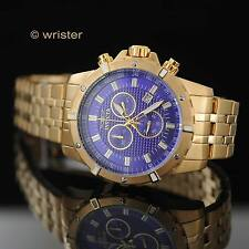 Men's Invicta Specialty Chronograph Swiss Parts Gold Plated Blue Dial 45mm Watch