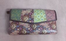 Fossil Vintage Wallet Floral Print Leather Checkbook Wallet Quilted