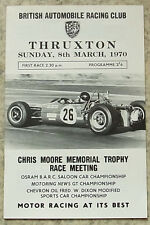 THRUXTON 8 Mar 1970 BARC CHRIS MOORE MEMORIAL TROPHY MEETING Official Programme